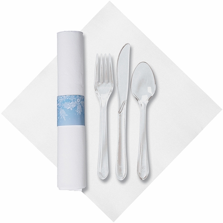 White and Blue Snowflake Fashnpoint Caterwrap with Clear Cutlery sold in quantities of 50 per pkg / 2 pkgs per case
