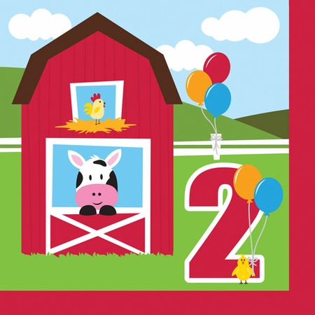 Red and green Farmhouse Fun 2nd Birthday Luncheon Napkins are sold in quantities of 18 / pkg, 12 pkg / case