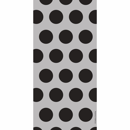 Black Polka Dots Cello Treat Bags measure 11.25 inches x 5 inches and are sold in quantities of 20 /pkg, 12 pkgs / case