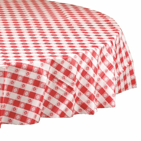 "Red Gingham 84"" Round Plastic Tablecloths are sold in quantities of 1 / pkg, 12 pkgs / case"