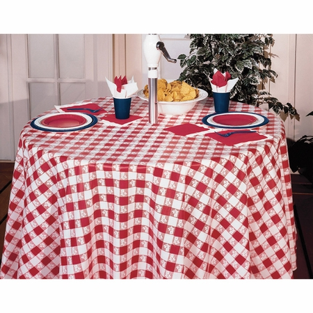 Red Gingham Octy-Round Tablecloths 12 ct