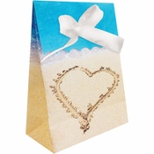 Blue and tan Beach Love Favor Bags sold in quantities of 12 / pkg, 6 pkgs / case
