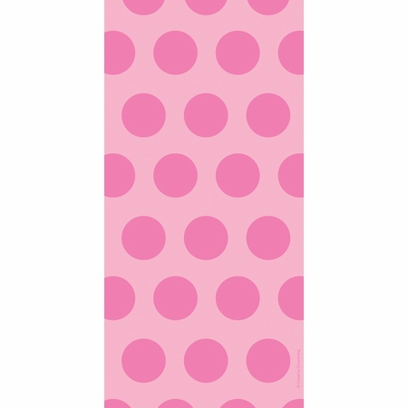 Candy Pink Polka Dots Cello Treat Bags measure 11.25 inches x 5 inches and are sold in quantities of 20 /pkg, 12 pkgs / case