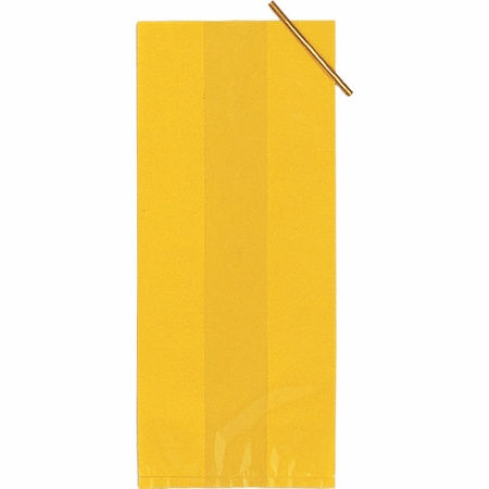 Yellow Large Cello Treat Bags measure 11.25 inches x 5 inches and are sold in quantities of 20 /pkg, 12 pkgs / case