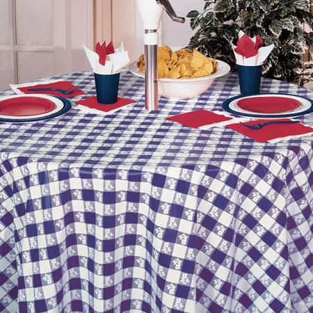 Blue Gingham Octy Round Tablecloths 12 ct