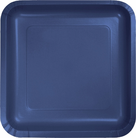 Touch of Color Navy Square Dessert Plates in quantities of 18 / pkg, 10 pkgs / case