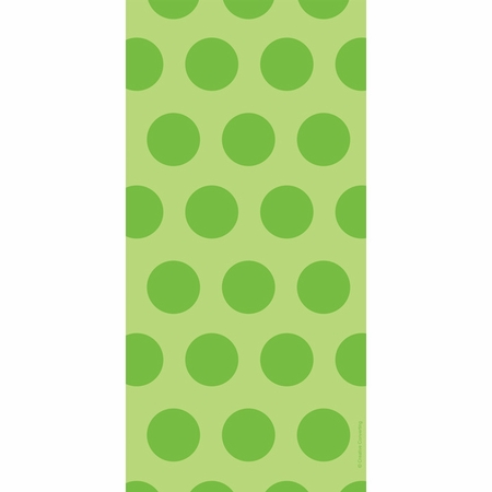 Lime Green Polka Dots Cello Treat Bags measure 11.25 inches x 5 inches and are sold in quantities of 20 /pkg, 12 pkgs / case