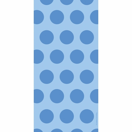Blue Polka Dots Cello Treat Bags measure 11.25 inches x 5 inches and are sold in quantities of 20 /pkg, 12 pkgs / case