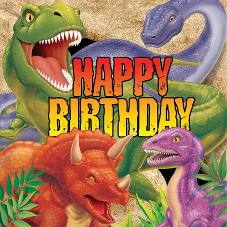 Green, orange and purple Dino Blast Happy Birthday Luncheon Napkins sold in quantities of 16 / pkg, 12 pkgs / case.