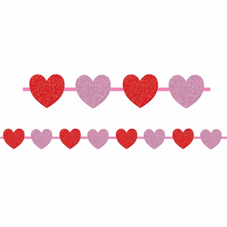 Hearts Ribbon Garland with Glitter 12 ct