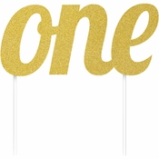 "Gold ""One"" Birthday Cake Toppers 12 ct"
