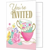 Floral Tea Party Invitations 48 ct