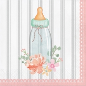 Country Floral Baby Shower Bottle Luncheon Napkins 192 ct