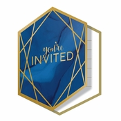 Navy Blue and Gold Foil Invitations 48 ct