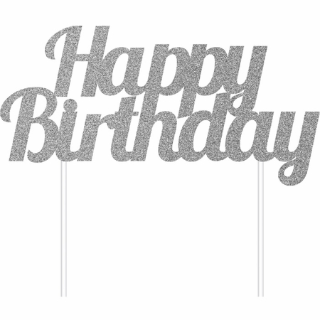Silver Glitter Happy Birthday Cake Toppers 12 ct