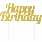 Gold Glitter Happy Birthday Cake Toppers 12 ct