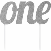 "Silver ""One"" Cake Toppers 12 ct"