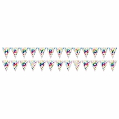 Rainbow Foil Happy Birthday Flag Banners 6 ct