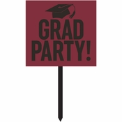 Burgundy Red Graduation Yard Signs 6 ct