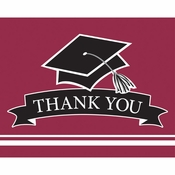 Graduation School Spirit Burgundy Red Thank You Notes 75 ct