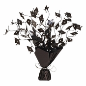 Graduation Mortarboard Foil Spray Centerpieces Black
