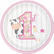 Farmhouse 1st Birthday Girl Dessert Plates 96 ct