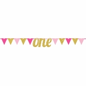 1st Birthday Girl Pennant Banners 12 ct