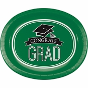 Graduation School Spirit Green Oval Plates