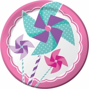 1st Birthday Pinwheel Girl Dessert Plates 96 ct