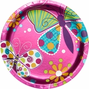 Pink Butterfly Sparkle Dessert Plates sold in quantities of 8 / pkg, 12 pkgs / case.