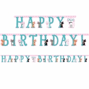 Cat Party Happy Birthday Banners 12 ct