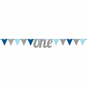 1st Birthday Boy Pennant Banners 12 ct