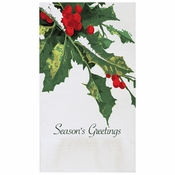 "7.5"" x 4.25"" Holly Greetings Dinner Napkins 1000 ct"