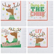 "5"" Reindeer Games Beverage Napkins 1000 ct"