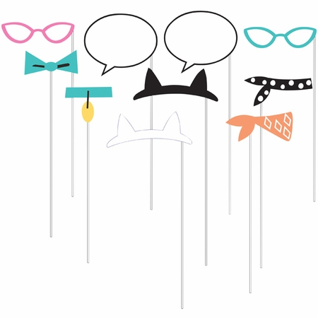 Cat Party Photo Booth Props 60 ct