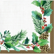Golden Holly Beverage Napkins 192 ct