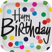 Birthday Dots by French Bull Square Dessert Plates 120 ct