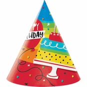 Rainbow Cake Party Hats 48 ct