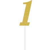 Gold Number One Cake Toppers 12 ct