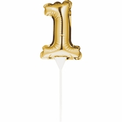 1 Gold Number Balloon Cake Toppers 12 ct