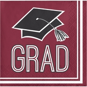 Graduation School Spirit Burgundy Beverage Napkins