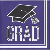 Graduation School Spirit Purple Beverage Napkins