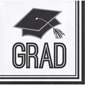 Graduation School Spirit White Beverage Napkins