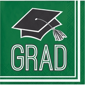 Graduation School Spirit Green Beverage Napkins