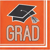 Graduation School Spirit Orange Beverage Napkins
