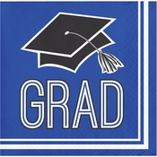 Graduation School Spirit Blue Beverage Napkins