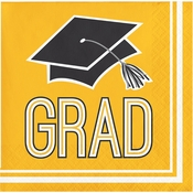 Graduation School Spirit Yellow Beverage Napkins
