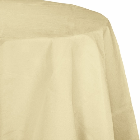 Touch of Color Ivory Octy-Round Paper Tablecloths in quantities of 1 / pkg, 12 pkgs / case