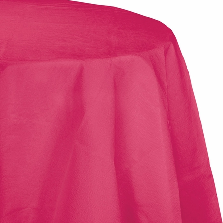 Touch of Color Hot Magenta Octy-Round Paper Tablecloths in quantities of 1 / pkg, 12 pkgs / case