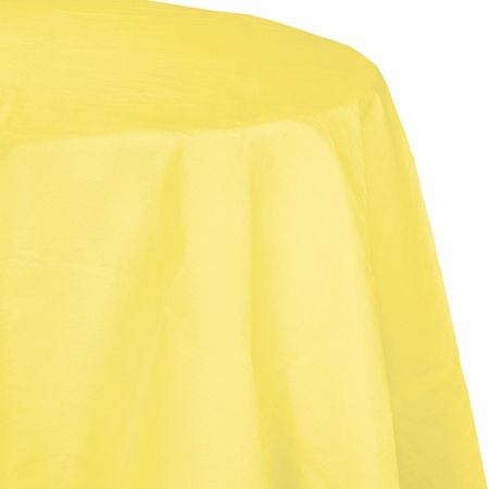 Touch of Color Mimosa Octy-Round Paper Tablecloths in quantities of 1 / pkg, 12 pkgs / case